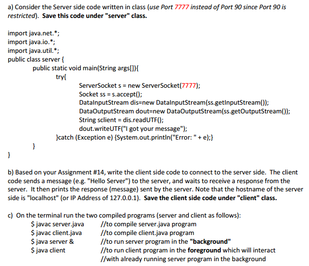 Solved: A) Consider The Server Side Code Written In Class
