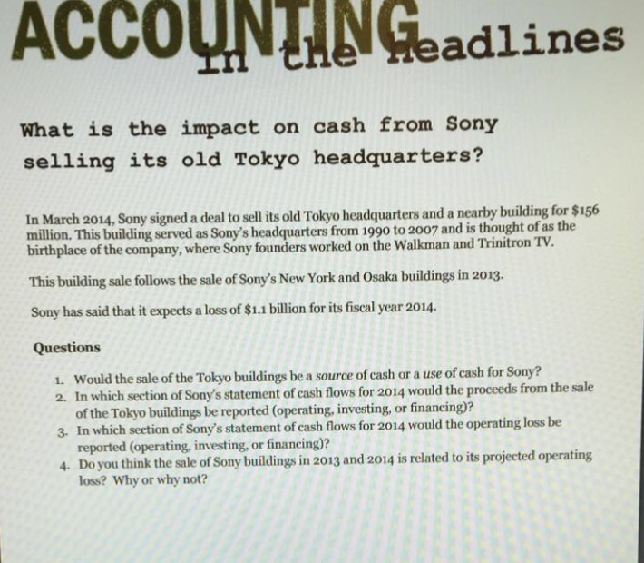 Solved: What Is The Impact On Cash From Sony Selling Its O