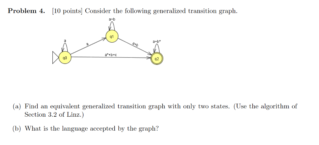 solved problem 4 10 points consider the following gener