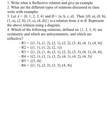 Solved Write What Is Reflective Relation And Give An Exam