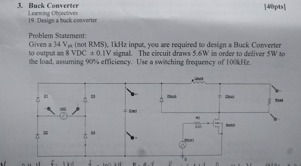 Solved 3 Buck Converter 140pts Learning Objectives 19