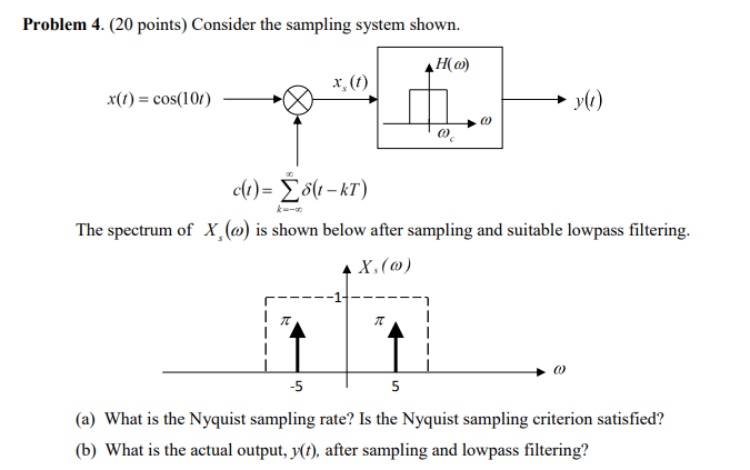 Problem 4. (20 points) Consider the sampling system shown. H(a) x) cos(10) » yi) The spectrum of X.(a) is shown below after sampling and suitable lowpass filtering. -5 (a) What is the Nyquist sampling rate? Is the Nyquist sampling criterion satisfied? (b) What is the actual output, X), after sampling and lowpass filtering?
