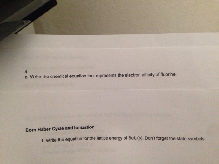 Solved A Write The Chemical Equation That Represents The