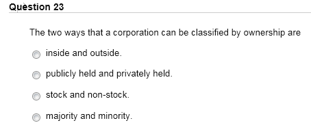 Solved The Two Ways That A Corporation Can Be Classified