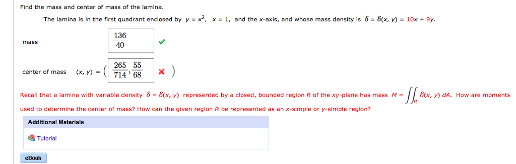 Calculus archive october 08 2017 chegg find the mass and center of mass of the lamina the lamina is in the fandeluxe Gallery