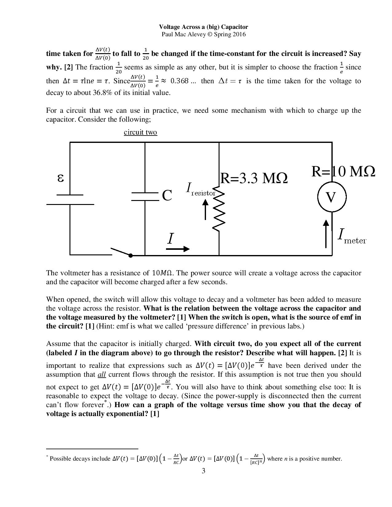 Time Taken For Deltavt Deltav0 To Fall 1 20 Avo 8 Circuit Diagram Question Be Changed If The Constant Circui