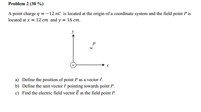 problem 2 30 a point charge q 12 nc is located at the origin of
