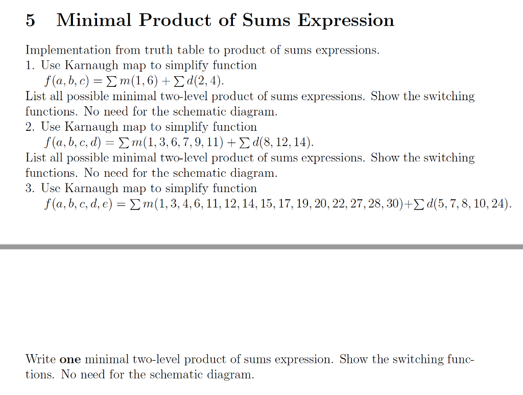Solved 5 Minimal Product Of Sums Expression Implementatio K Map Circuit Diagram Implementation From Truth Table To Expressions
