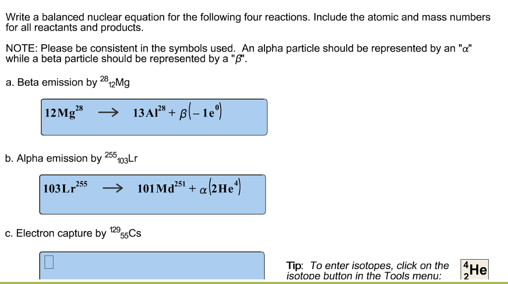 solved write a balanced nuclear equation for the followin