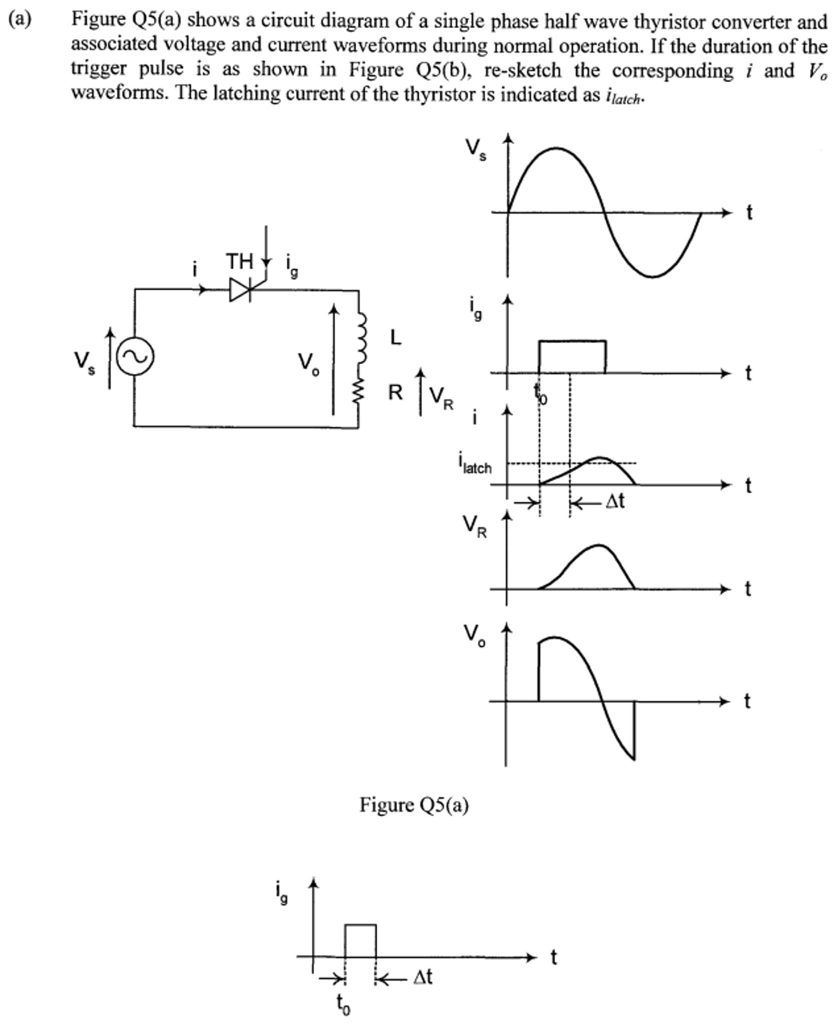 Thyristor Circuit Diagram | Figure Q5 A Shows A Circuit Diagram Of A Single P Chegg Com
