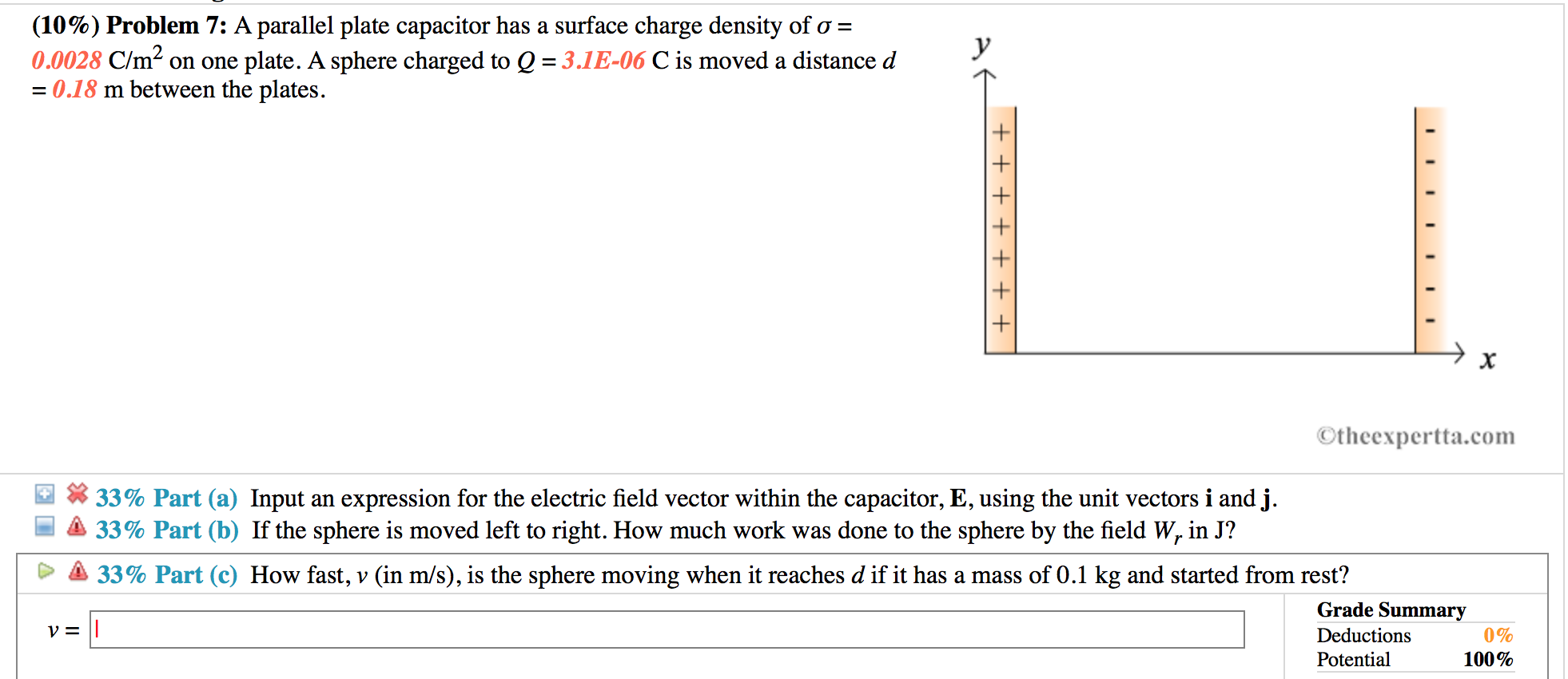 Solved A Parallel Plate Capacitor Has A Surface Charge De