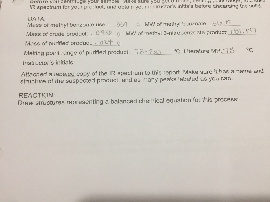 melting point lab report example