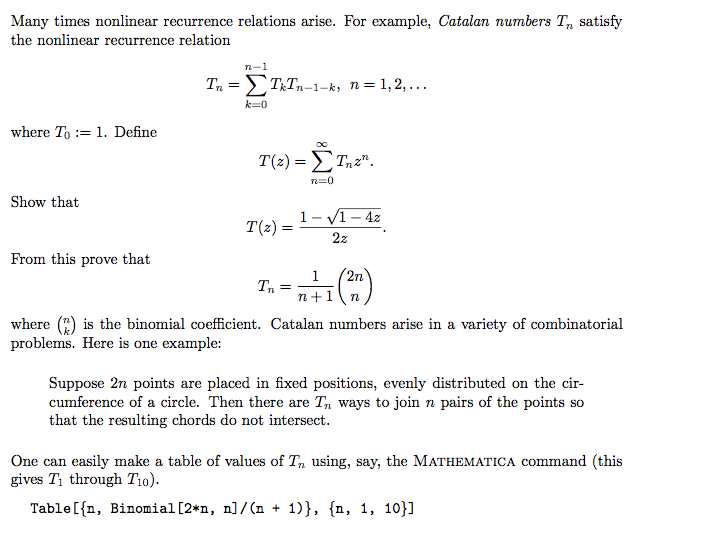 Many Times Nonlinear Recurrence Relations Arise F Chegg
