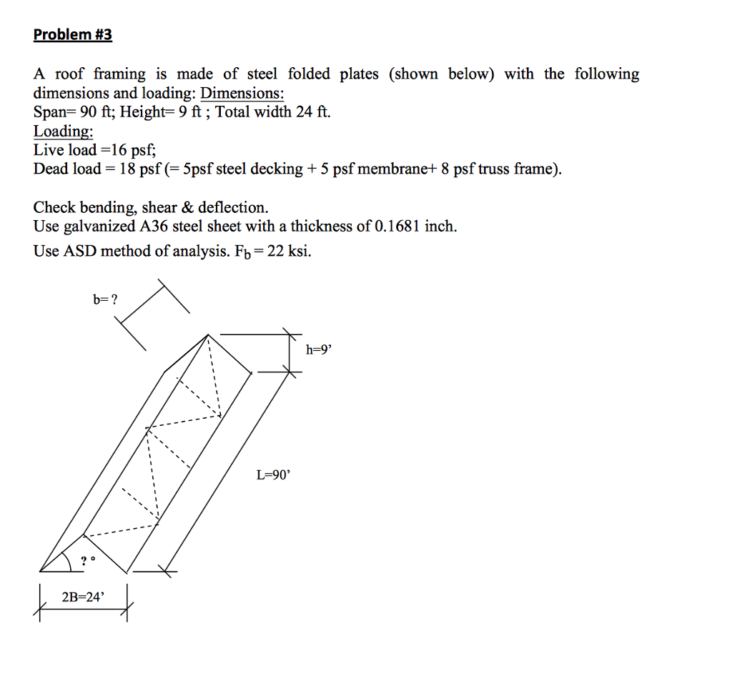 Problem #3 A Roof Framing Is Made Of Steel Folded ... | Chegg.com