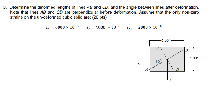 Solved 3 Determine The Deformed Lengths Of Lines Ab And