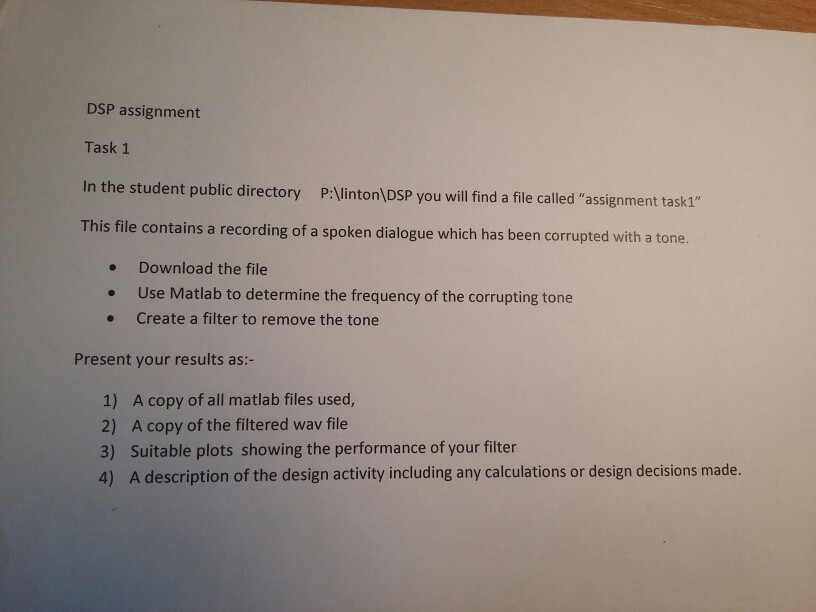 Solved: DSP Assignment Task 1 In The Student Public Direct