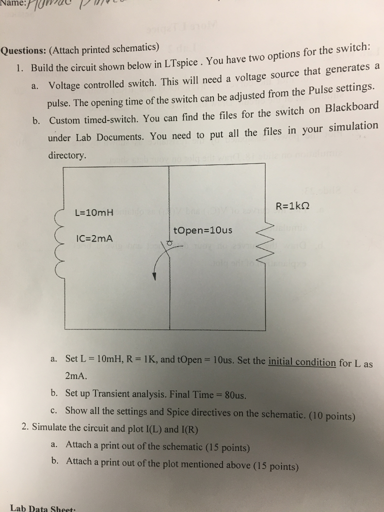 Solved: Build The Circuit Shown Below In LT Spice. You Hav ...