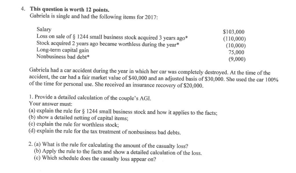 Fair Market Value Car Calculator >> 4 This Question Is Worth 12 Points Gabriela Is S