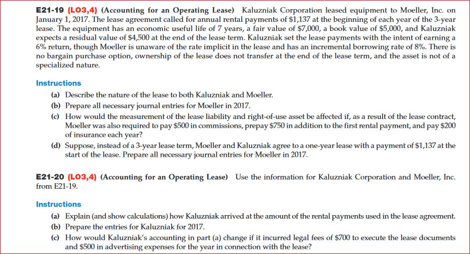 Solved Kaluzniak Corporation Leased Equipment To Moeller