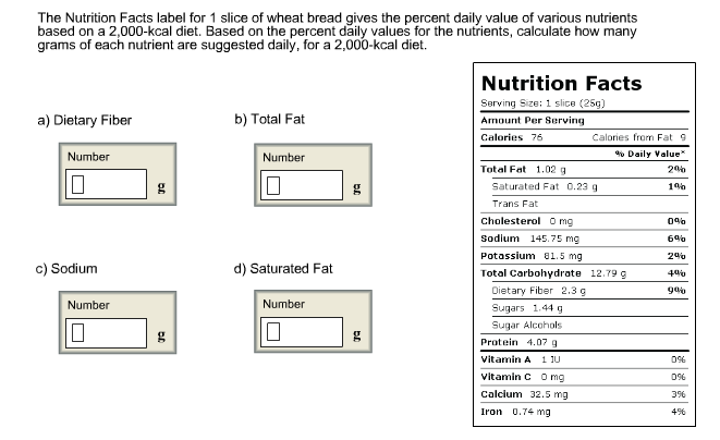 solved the nutrition facts label for 1 slice of wheat bre
