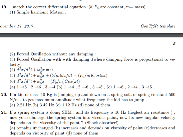 Solved: 19    Match The Correct Differential Equation : (b