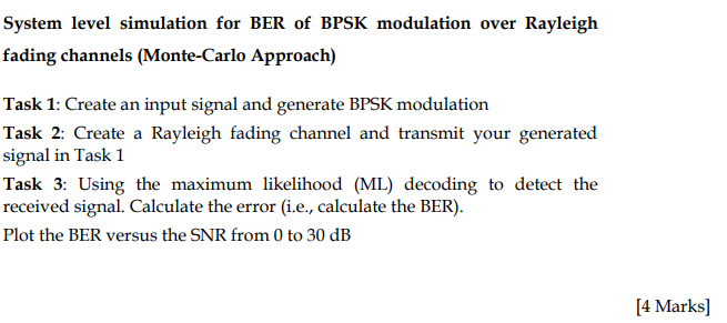 Solved: System Level Simulation For BER Of BPSK Modulation