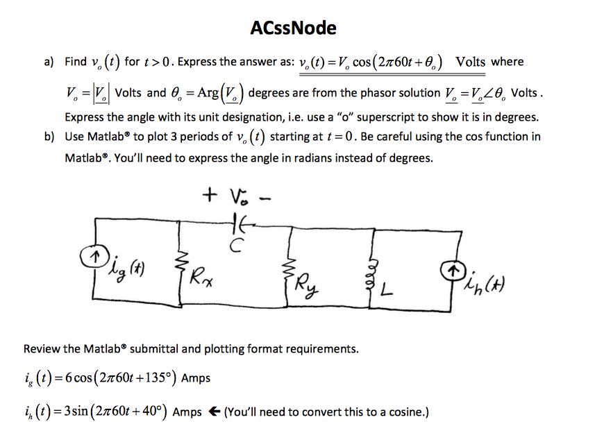 Solved: ACssNode A) Find V O(t) For T > 0  Express The Ans