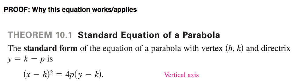 Solved The Standard Form Of The Equation Of A Parabola Wi