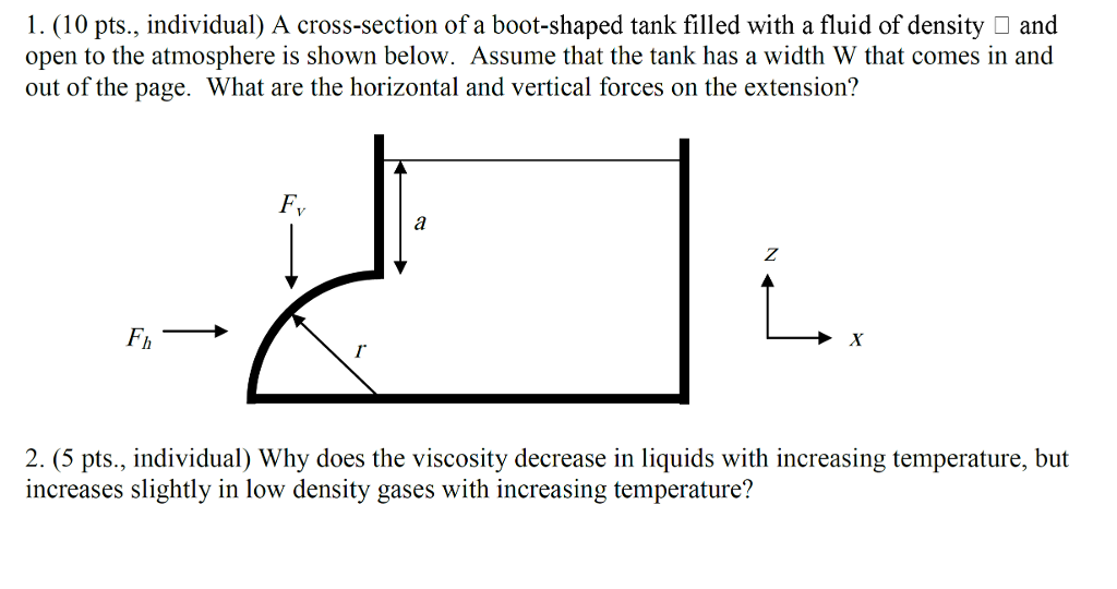 1. (10 pts., individual) A cross-section of a boot-shaped tank filled with a fluid of density and open to the atmosphere is shown below. Assume that the tank has a width W that comes in and out of the page. What are the horizontal and vertical forces on the extension? Fv Fh 2. (5 pts., individual) Why does the viscosity decrease in liquids with increasing temperature, but increases slightly in low density gases with increasing temperature?