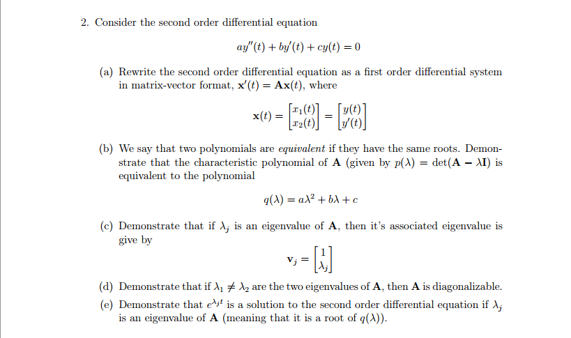 Solved: 2  Consider The Second Order Differential Equation
