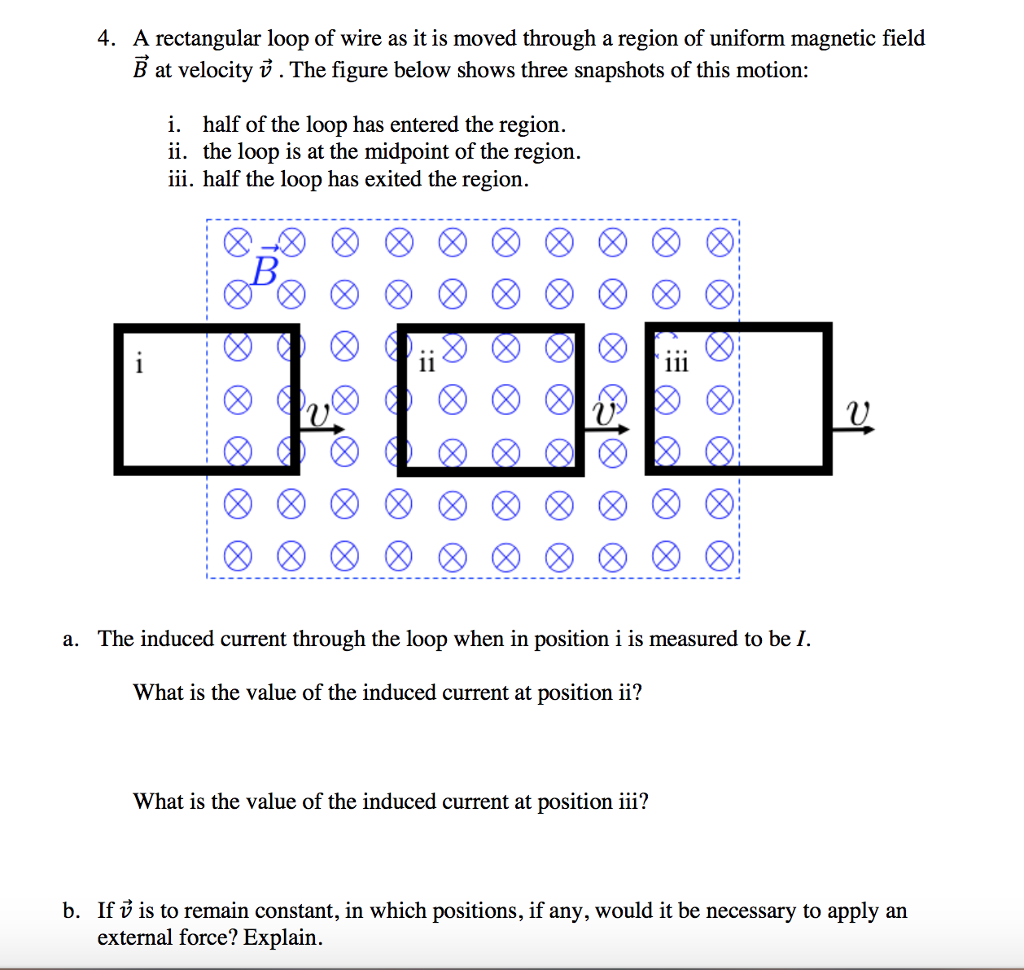 Solved: 4. A Rectangular Loop Of Wire As It Is Moved Throu ...