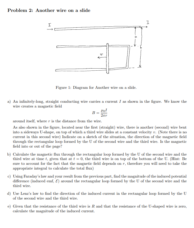 Solved: Problem 2: Another Wire On A Slide ? Figure 1: Dia ...