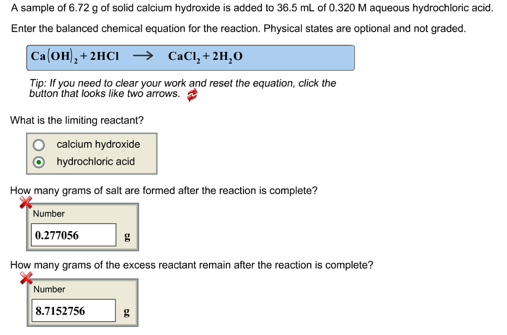 Solved A Sample Of 672 G Of Solid Calcium Hydroxide Is A