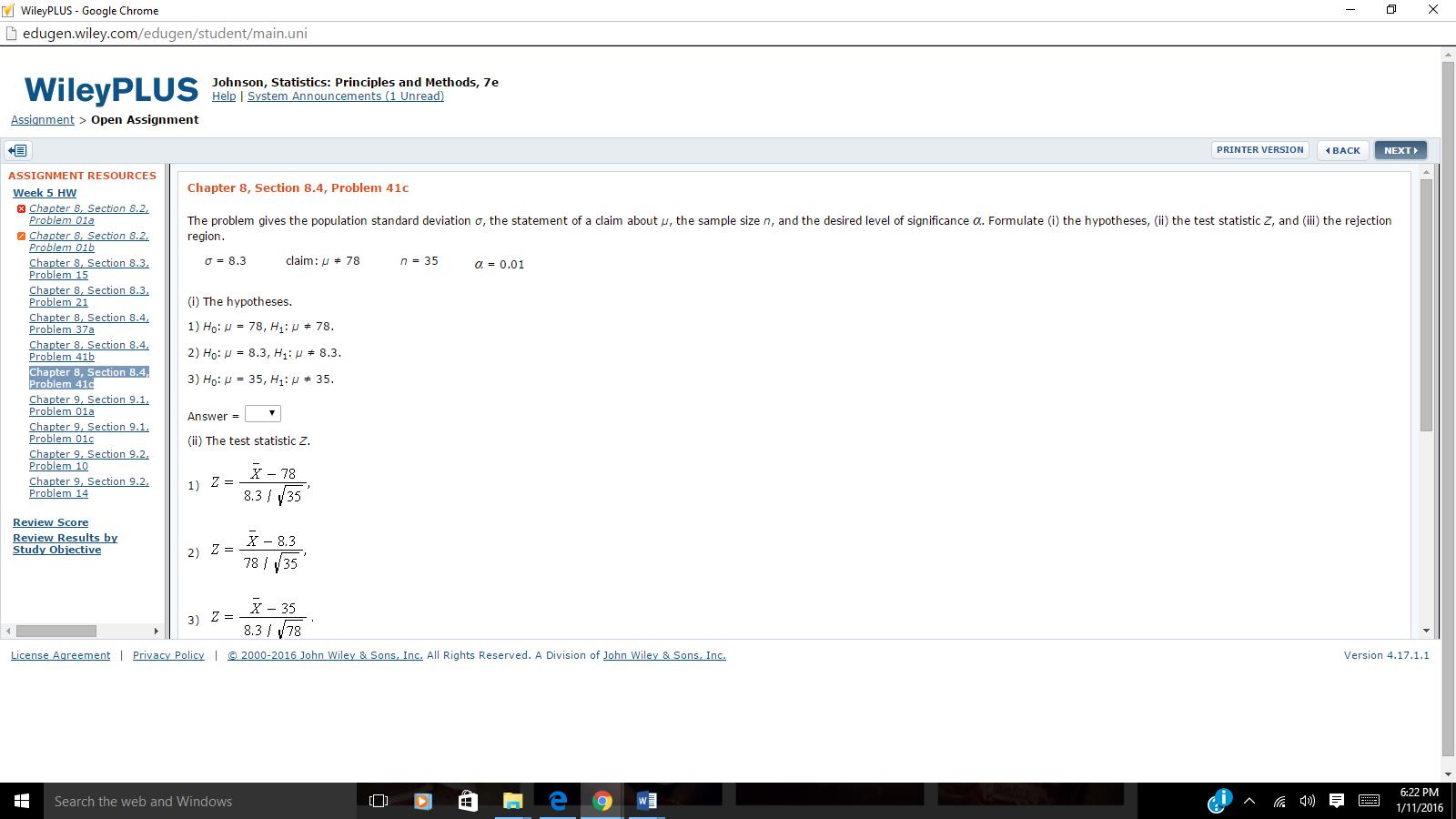 Question: Wiley PLUS Google Chrome eduge Wiley.com un /edugen/student/main.  Wiley PLUS Johnson, Statistics:.
