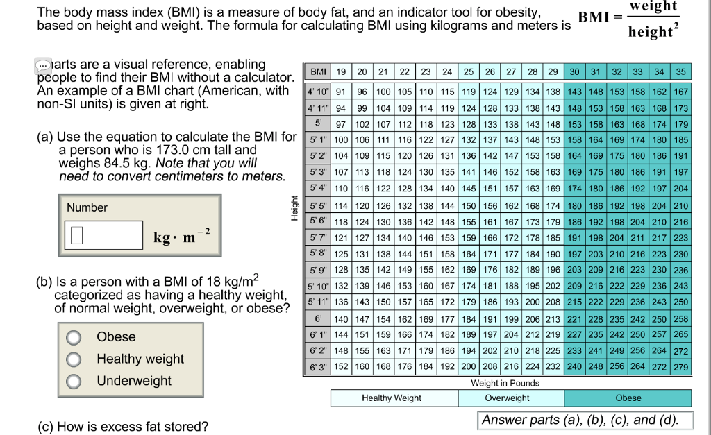 Solved Weight The Body Mass Index Bmi Is A Measure Of B