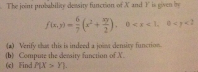 Solved: The Joint Probability Density Function Of X And Y