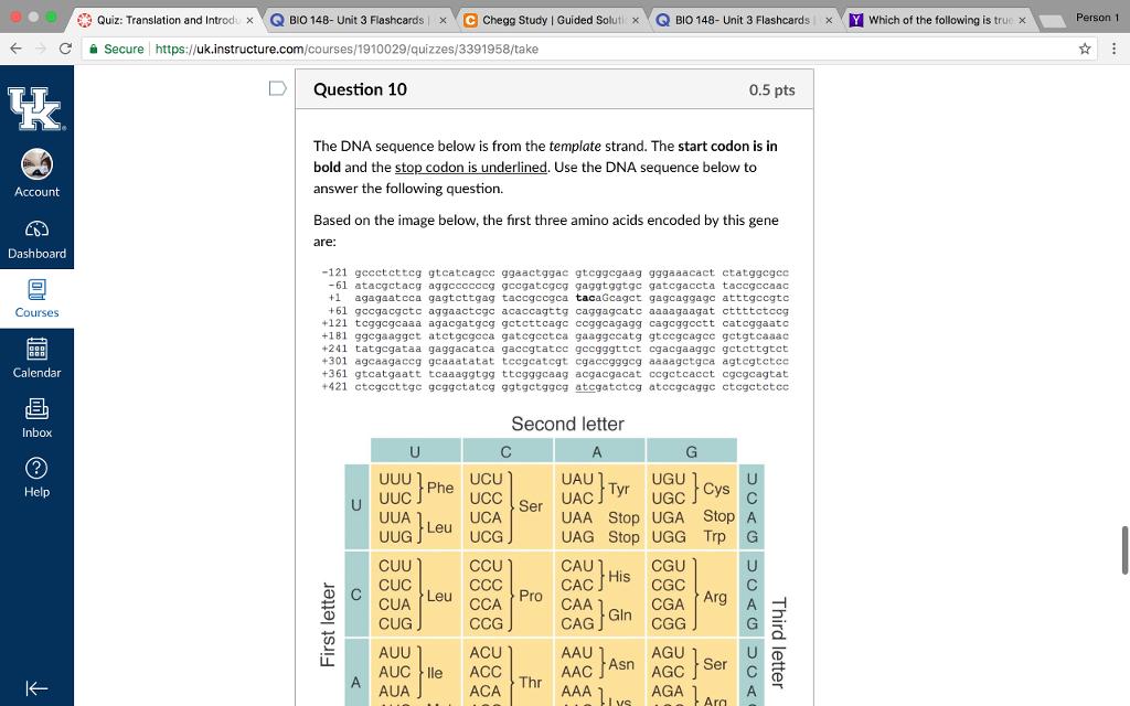 Solved: * Quiz: Translation And Introd  Q BIO 148 Unit 3 F