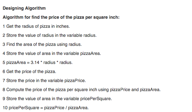 Calculate pizza cost per square inch of each pizza solve for which.