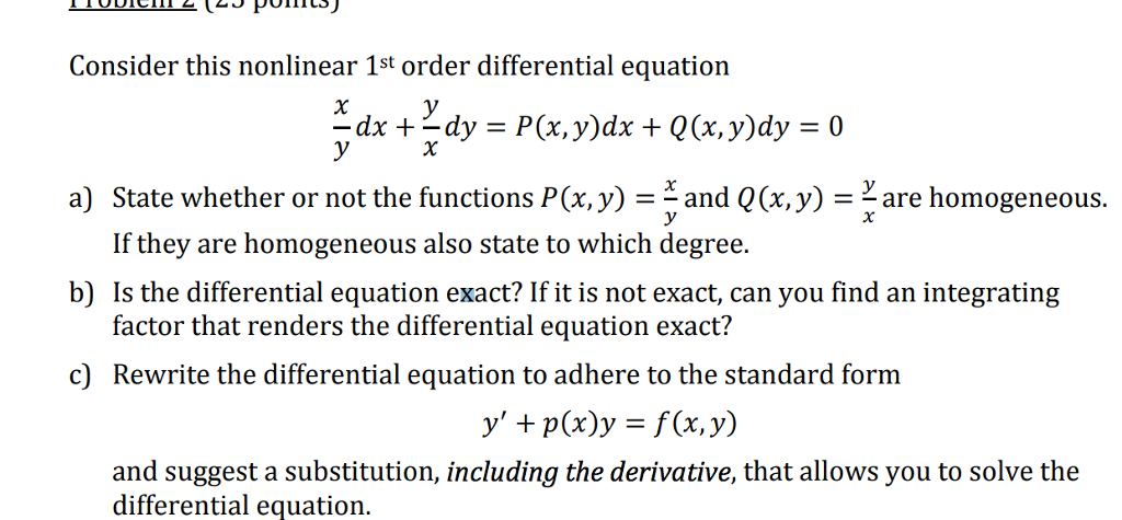 Solved Consider This Nonlinear 1st Order Differential Equ