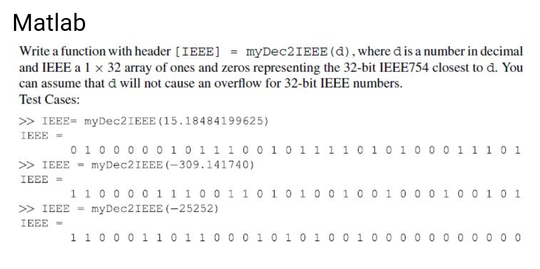 Write A Function With Header [IEEE] = MyDec2IEEE