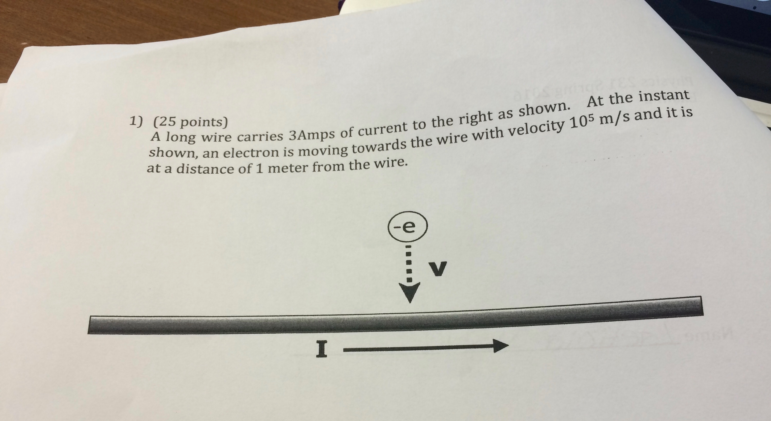 Solved: A Long Wire Carries 3 Amps Of Current To The Right ...
