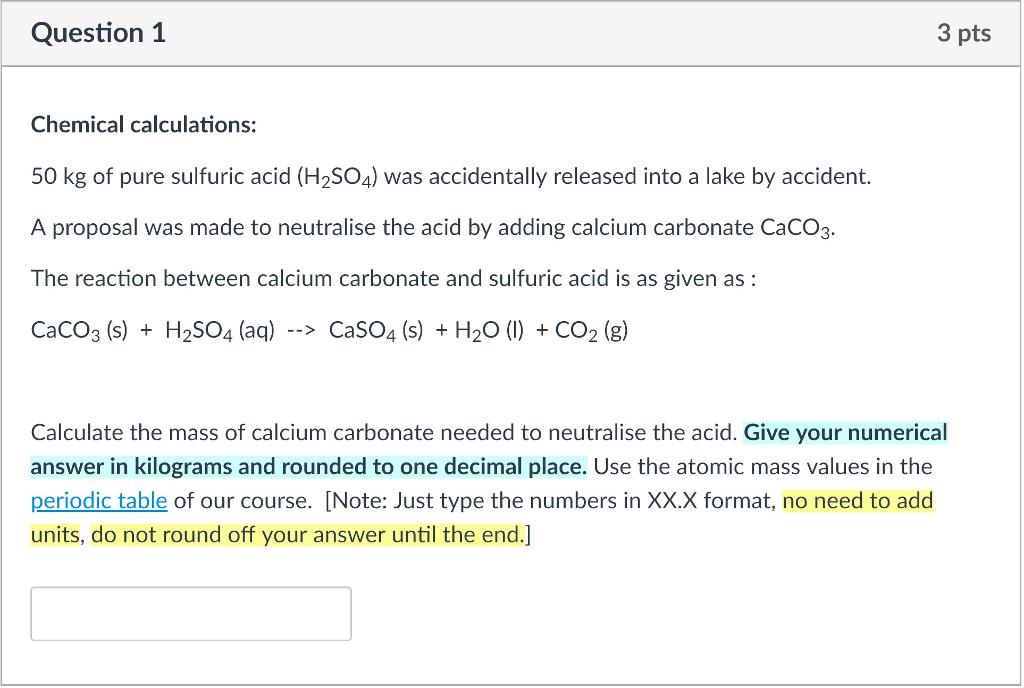Solved Question 1 3 Pts Chemical Calculations 50 Kg Of P