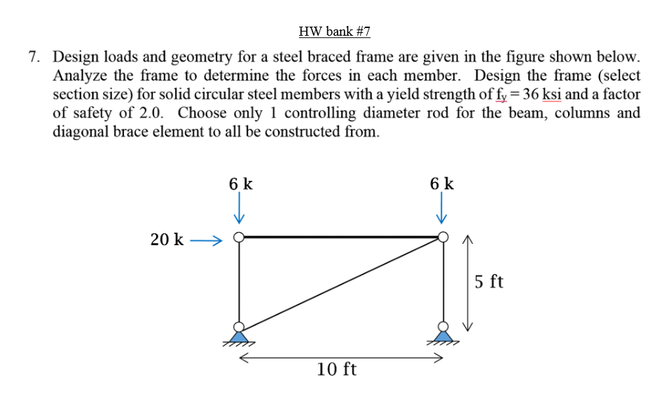 Solved: 7. Design Loads And Geometry For A Steel Braced Fr ...