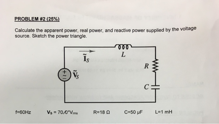 Calculate the apparent power, real power, and reac