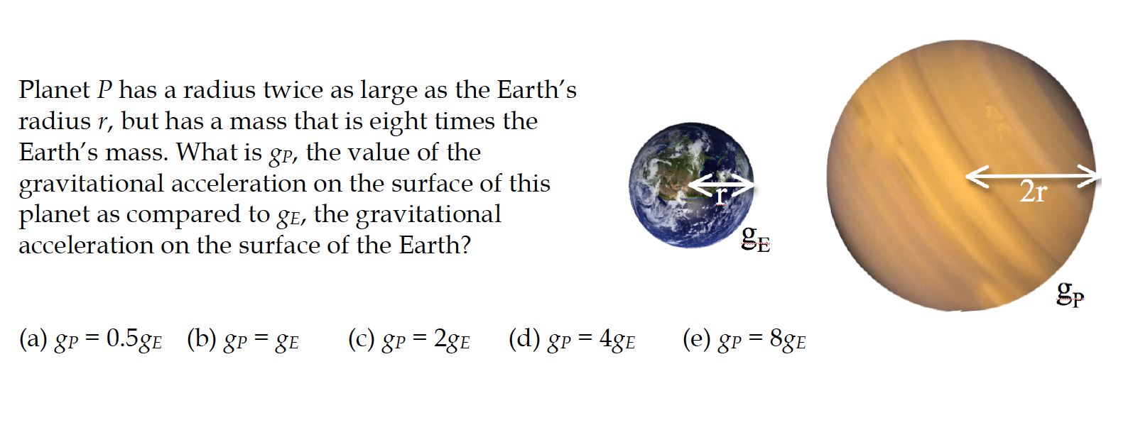 Solved: Planet P Has A Radius Twice As Large As The Earth