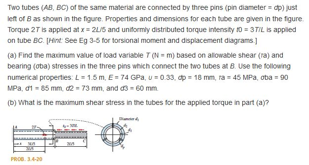 properties and dimensions for each tube are