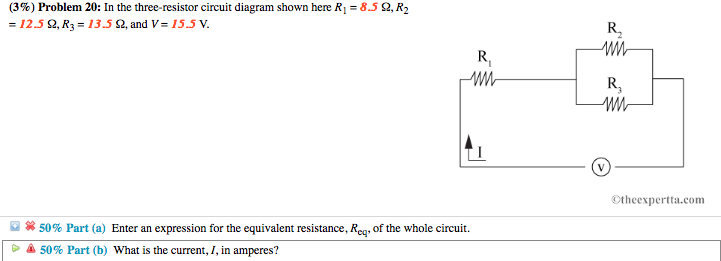 Solved: (3%) Problem 20: In The Three-resistor Circuit Dia ...