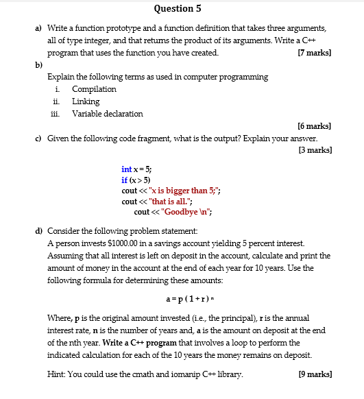 Question 5 a write a function prototype and a fun chegg question 5 a write a function prototype and a function definition that takes three arguments sciox Images