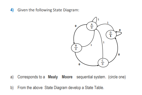 Solved 4 Given The Following State Diagram A Correspon