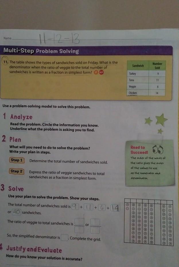Name Multi Step Problem Solving Sandwich Number Turkey